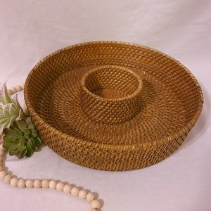 Woven Wicker Divided Serving Tray